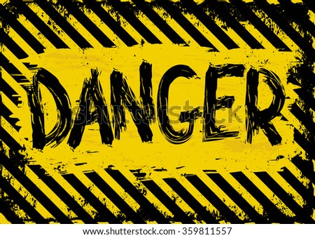 grunge background with yellow and black danger symbol - stock vector