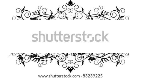 grunge banner floral - stock vector