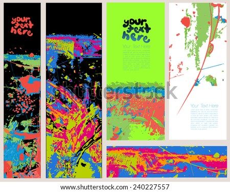 Grunge Banner Set for Text - stock vector