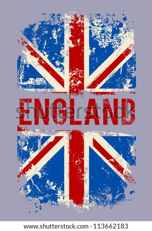 Grunge banner UK national flag. Vector illustration. - stock vector