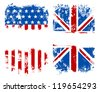 Grunge banners USA and UK national flags. Vector illustration. - stock vector