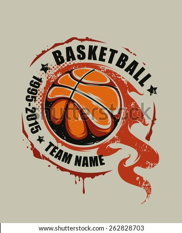 Grunge basketball emblem. Flaming basketball graffiti. Vector art. - stock vector