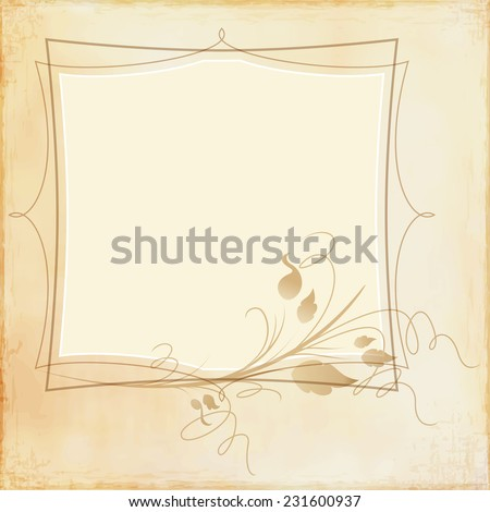 Grunge beige frame with decorative element - stock vector