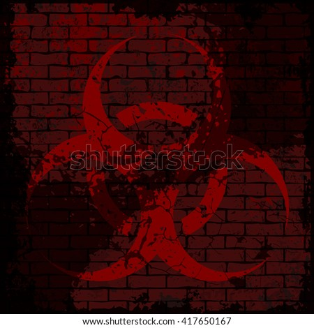 Grunge biohazard sign. Vector illustration of red bio hazard sign on grungy dark brick wall background. Fully editable eps10 file for posters, wallpaper, t-shirt design and your different projects. - stock vector