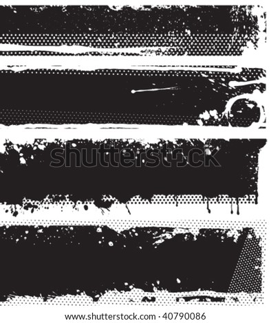 Grunge black and white banners. Each banner are one object in separated layer. Vector illustration. - stock vector