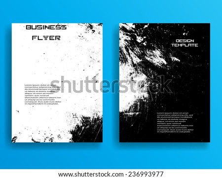 Grunge Black and White Distress Texture . Vector Illustration. Set of Flyer Templates. Collection of Brochure Design . Abstract Modern Background . - stock vector