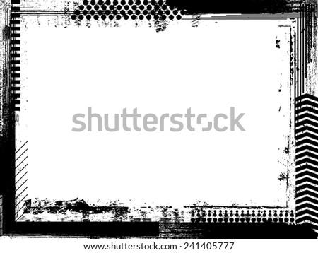 Grunge Black and White Frame . Distress Border Frame . Vector Frame for your Design . Grunge Texture . Grunge Background . Hand Drawn Border Frame . - stock vector