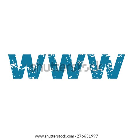 Grunge blue icon with text WWW, isolated on white - stock vector