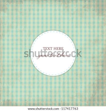 Grunge Blue Vintage Card, Plaid Design - stock vector