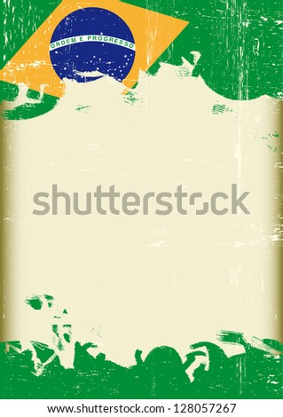 Grunge Brazilian flag. A poster with a large scratched frame and a grunge brazilian flag for your publicity. - stock vector