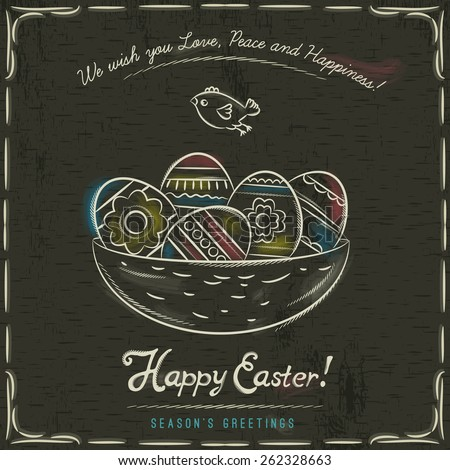 Grunge brown background with nest full of easter eggs, inscription with text Happy Easter and one bird. - stock vector