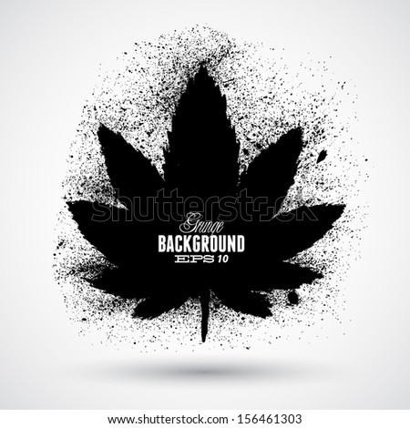 Grunge cannabis leaf silhouette vector - stock vector