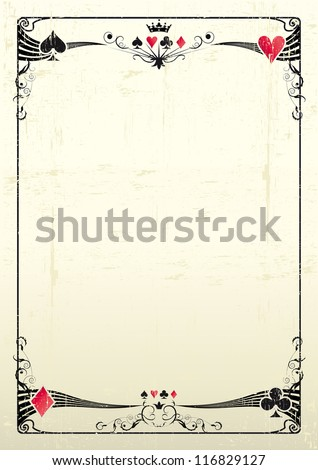 grunge casino. A grunge card frame for a poster. - stock vector