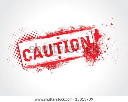 grunge caution tag - stock vector