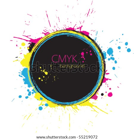 Grunge circle with CMYK ink splashes - stock vector