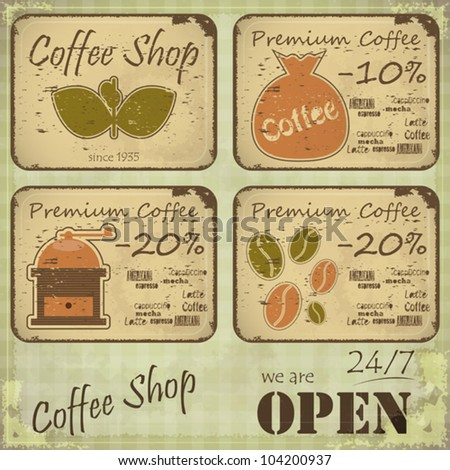 Grunge coffee labels in Retro style on dirty background - vector illustration - stock vector