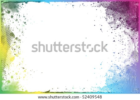 Grunge color border with space of your text, vector illustration - stock vector