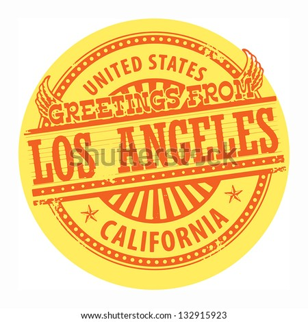 Grunge color stamp with text Greetings from Los Angeles, vector illustration - stock vector