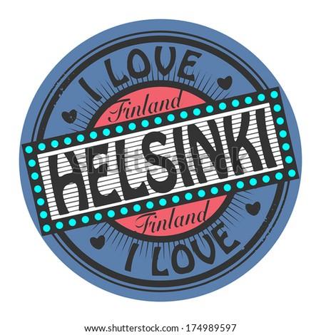 Grunge color stamp with text I Love Helsinki inside, vector illustration - stock vector
