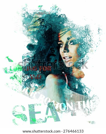 Grunge composition with a pretty lady and text - stock vector