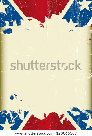 Grunge confederate flag. A poster with a large scratched frame and a grunge confederate flag for your publicity. - stock vector