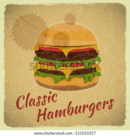 Grunge Cover for Fast Food Menu - Hamburger on Retro Background - vector illustration - stock vector