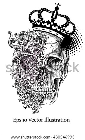 Grunge creative image with skull and vintage floral patterns with crown. editable Vector illustration. - stock vector