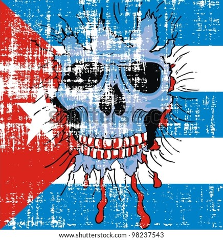 grunge Cuba flag and skull - stock vector