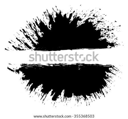 Grunge distressed paintbrush strokes background banner element illustration - stock vector
