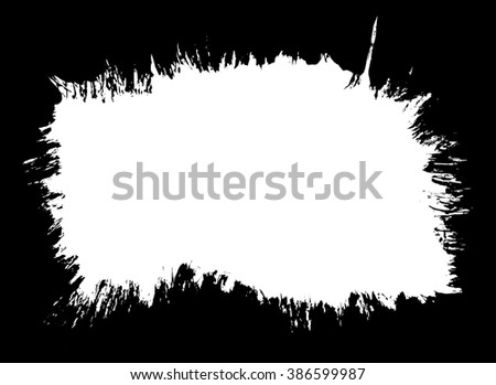 Grunge distressed paintbrush strokes background banner frame element illustration - stock vector