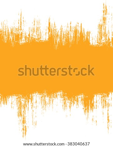 Grunge distressed white paintbrush banner strokes on orange background - stock vector