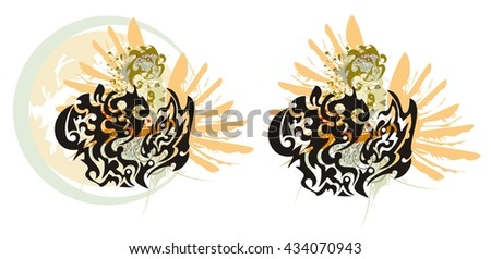 Grunge dragon hearts. Two dragon hearts - splashes in a woman's face with the head and a wing of an eagle in tribal style  - stock vector