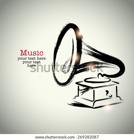 Grunge drawing phonograph with brushwork - stock vector