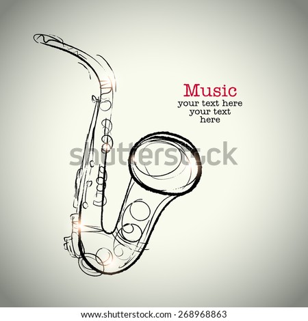 Grunge drawing saxophone with ink - stock vector