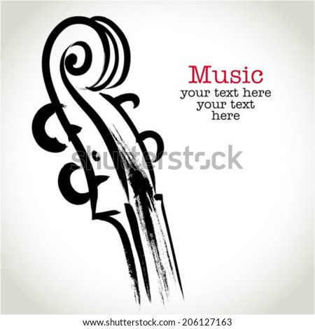 Grunge drawing violin with brushwork - stock vector