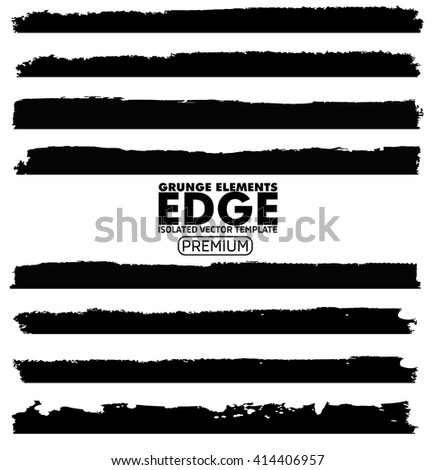 Grunge Edges set - isolated vector design elements - stock vector