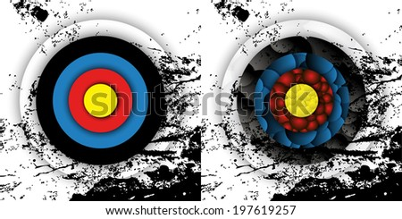 Grunge effect archery targets - stock vector