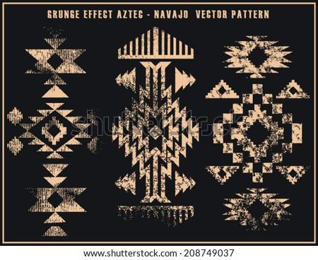 Grunge effect aztec navajo vector pattern illustration - stock vector