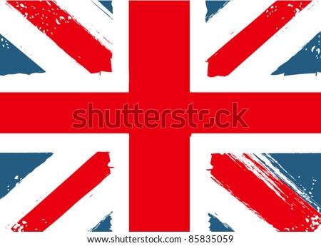 Grunge English Flag - stock vector