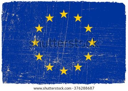 Grunge EU flag.Vector flag of European Union. - stock vector