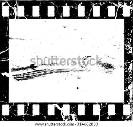 Grunge Filmstrip Border Frame . Photo Album with Overlay Film Grain Distressed Texture .  - stock vector