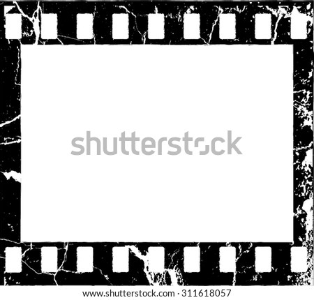 Grunge Filmstrip Border Frame . Photo Frame with Overlay Film Grain Distressed Texture . Vintage Frame . Vector . - stock vector