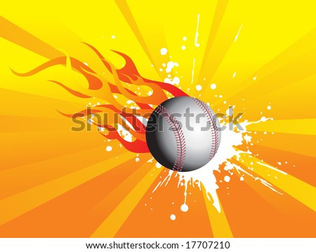 grunge fire background with cricket ball, illustration - stock vector