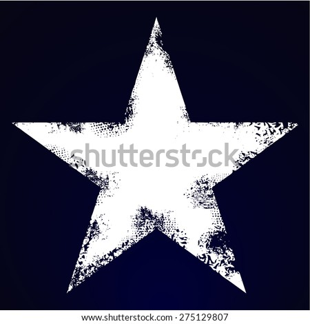 Grunge five pointed star - stock vector