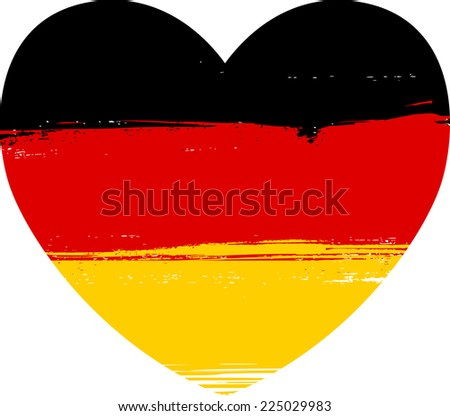 Grunge flag of Germany in heart shape - stock vector