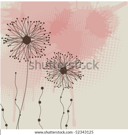Grunge floral background. Vector card - stock vector