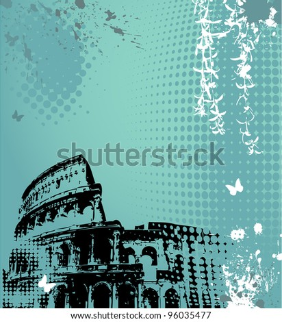 Grunge floral background with Colosseum - stock vector