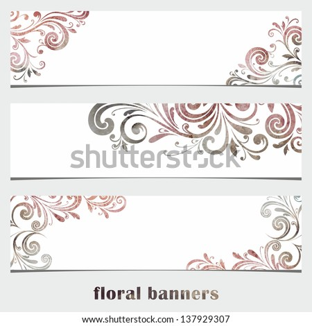 Grunge Floral banners. Watercolor vintage background. - stock vector