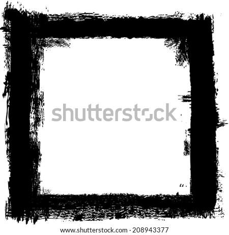 grunge frame, black, strokes and splashes - stock vector