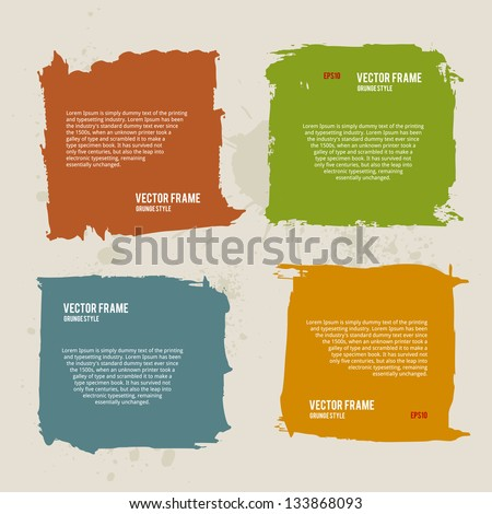 Grunge Frame Collection. Hand Drawn Watercolor Illustration. - stock vector